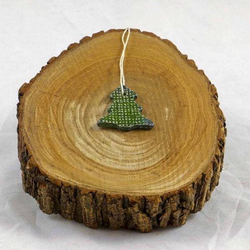 Petra Zobl Keramik - Geschenkanhänger Baum grün
