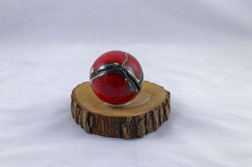Petra Zobl Keramik - Kugel feuerrot metallic doppelt mit Effekt