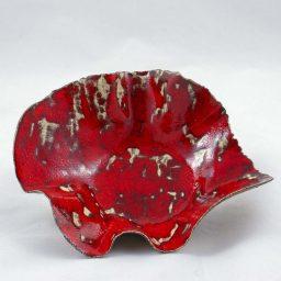 Petra Zobl Keramik - Schale feuerrot Muster aussen Mangan Spinell 2