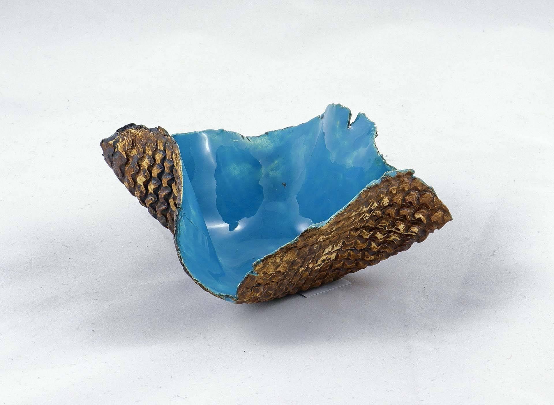 Petra Zobl Keramik - Schale aqua aussen Muster manganspinell 1