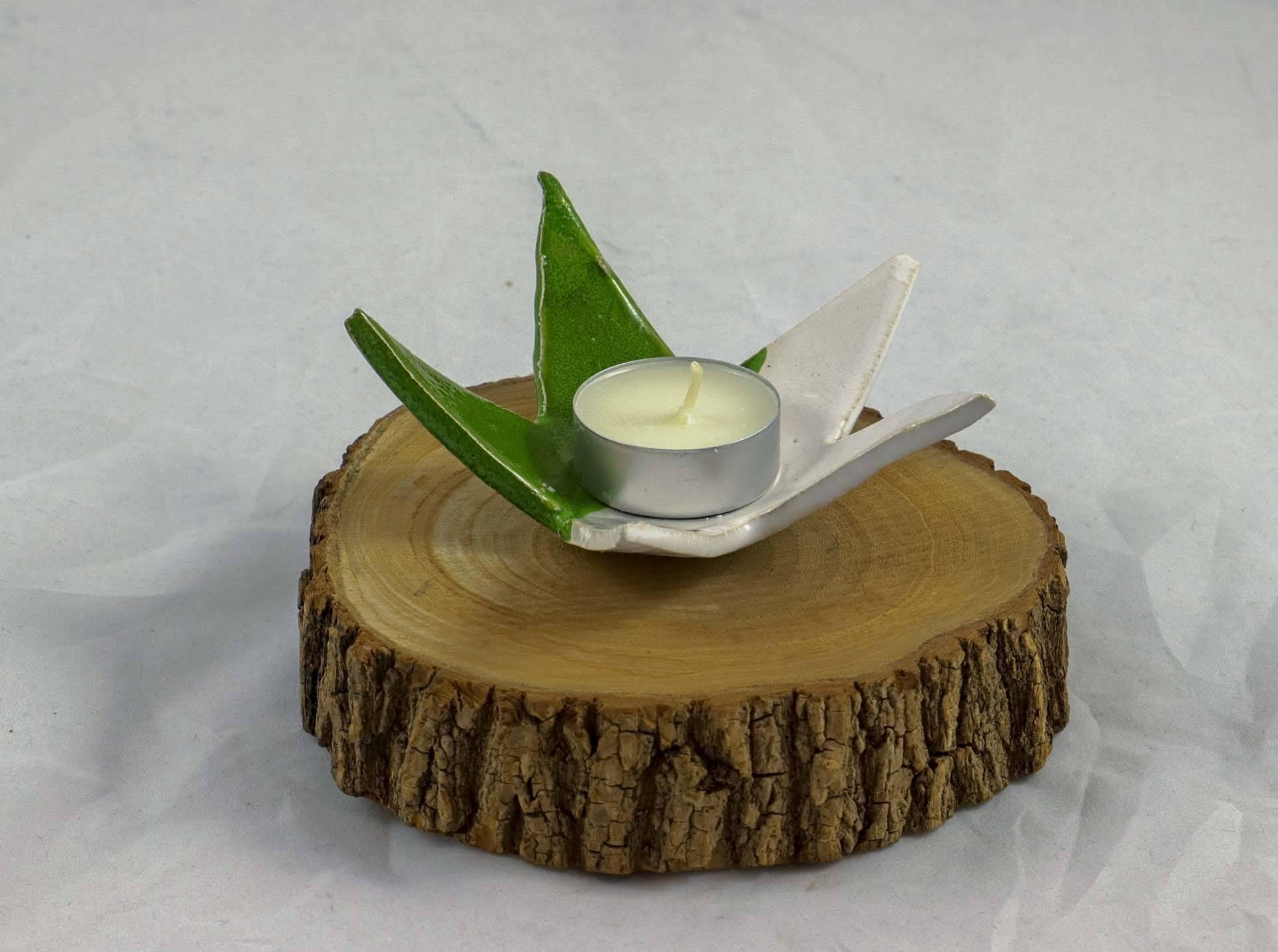 Petra Zobl Keramik - Sterne für Teelicht grün und weiß