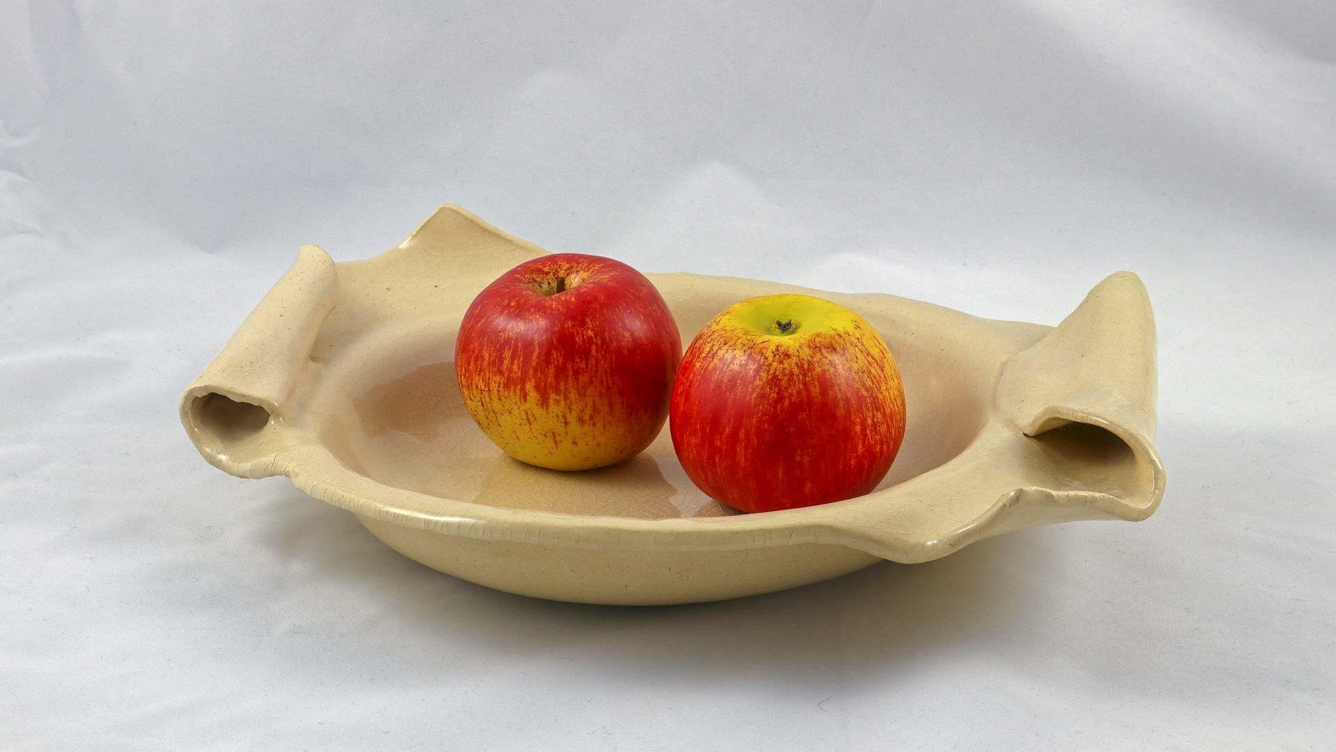 Petra Zobl Keramik - Obst Schale groß transparent craquele