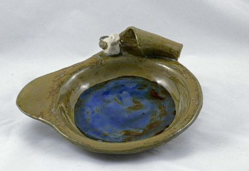 Petra Zobl Keramik - Vogeltränke magma braun beige bergkristall saphirblau 2
