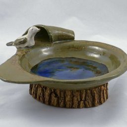 Petra Zobl Keramik - Vogeltränke magma braun beige bergkristall saphirblau 1